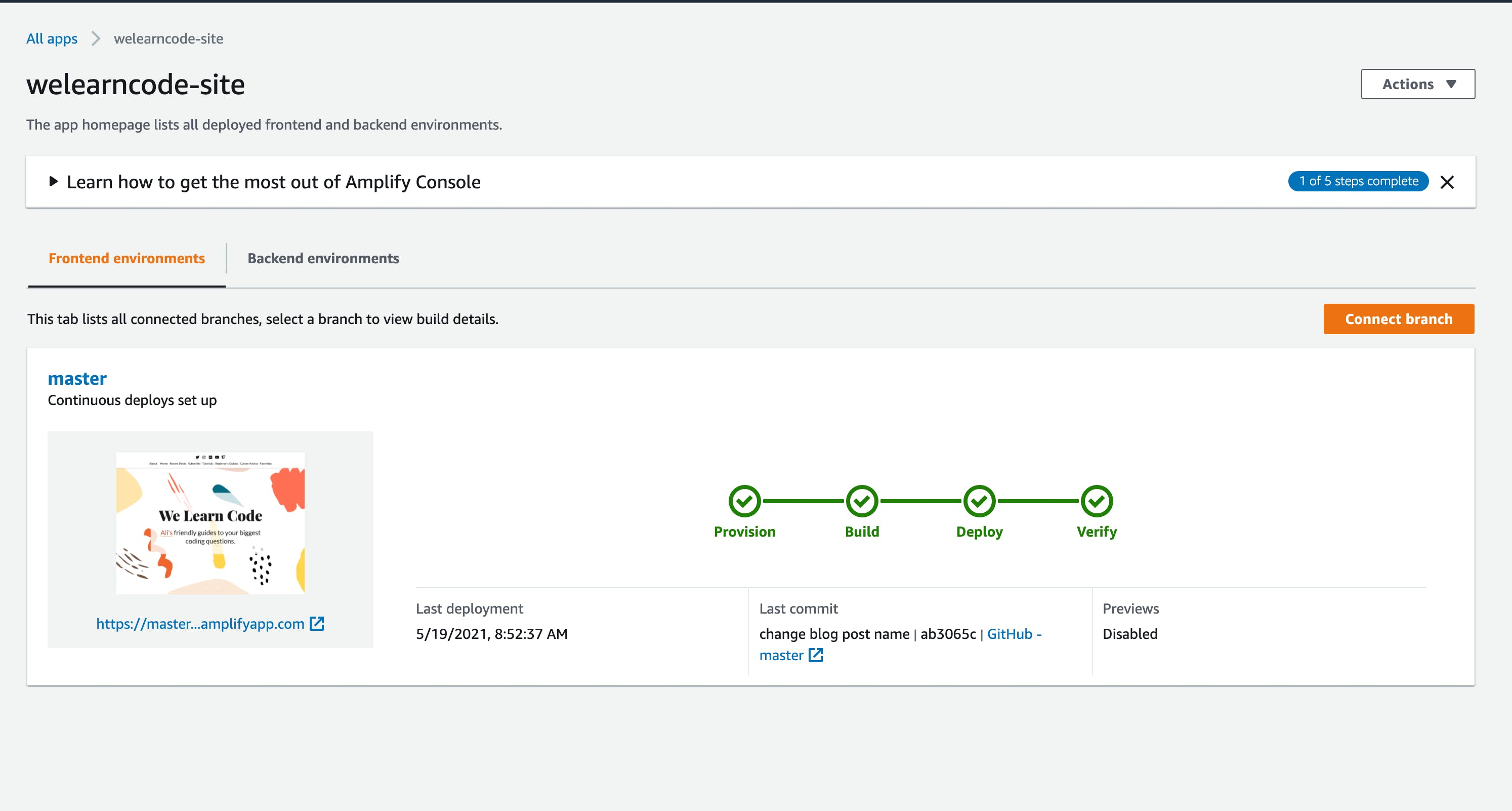 The connect branch button on the AWS Amplify Console