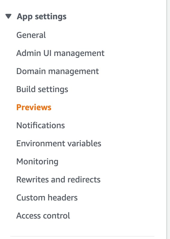 Enable previews in the AWS Amplify Console