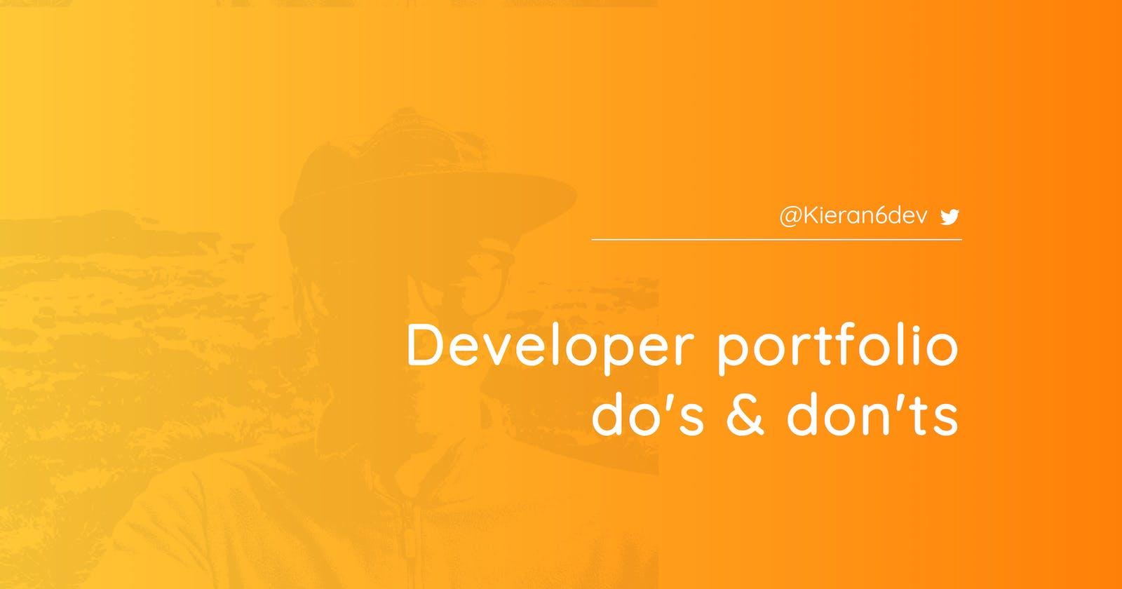 Developer portfolio do's & don'ts