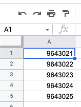 Google Sheets product IDs