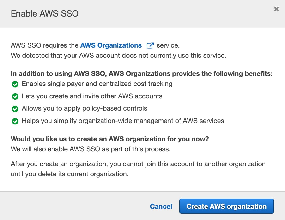 Create AWS Organizations in the AWS SSO Console