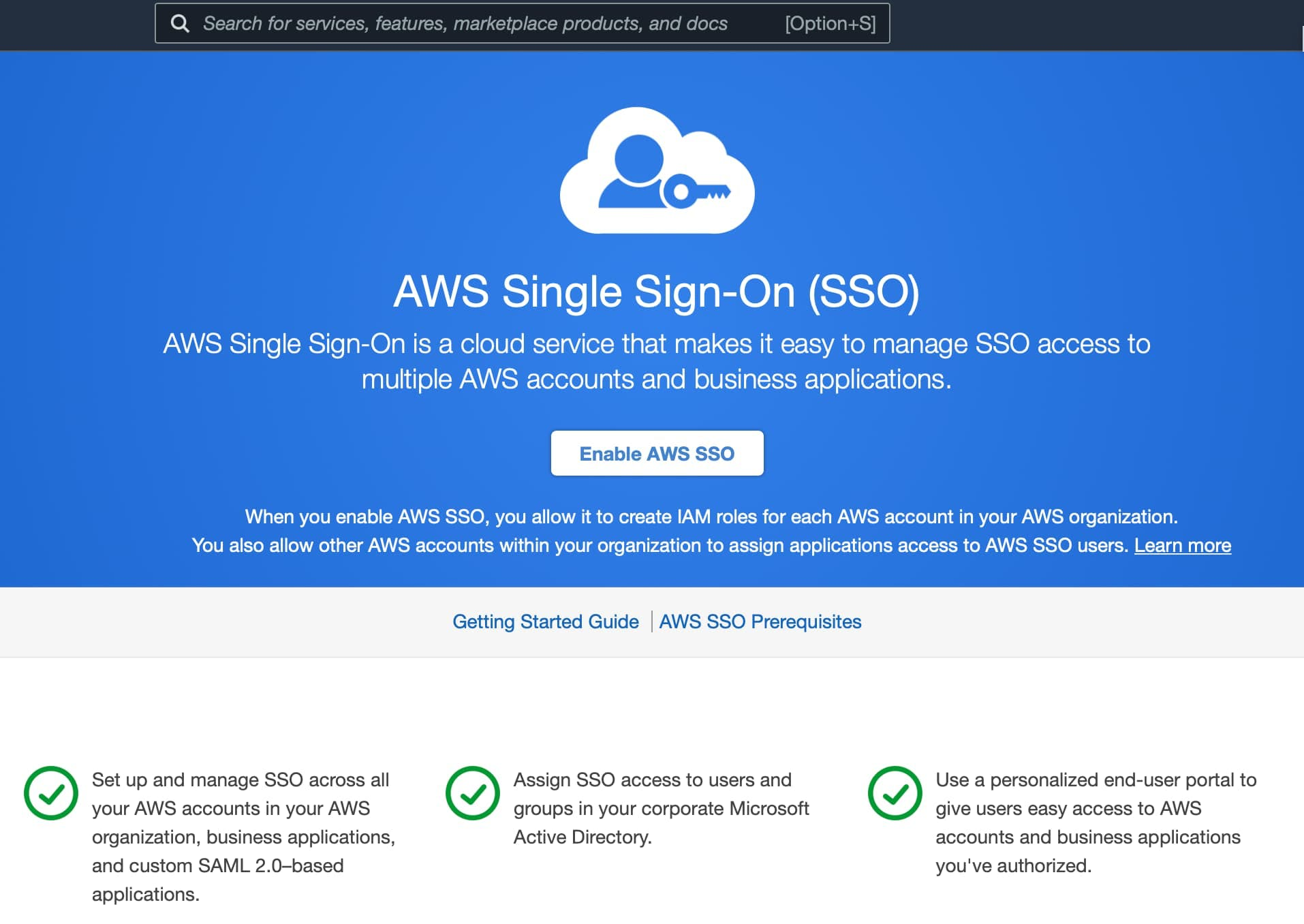 Enable AWS Single Sign-On in the AWS SSO Console