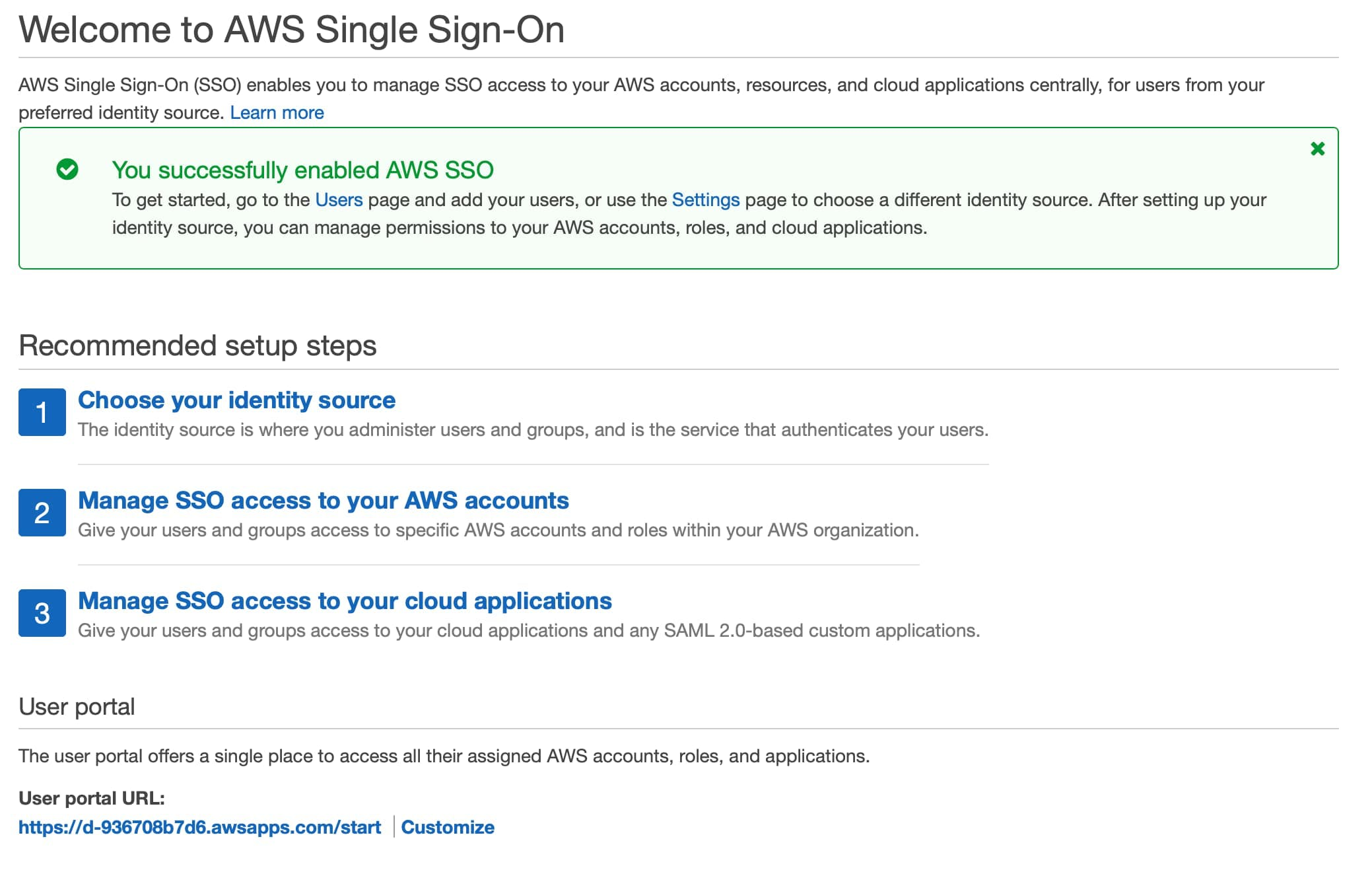 AWS SSO enabled page with user portal url