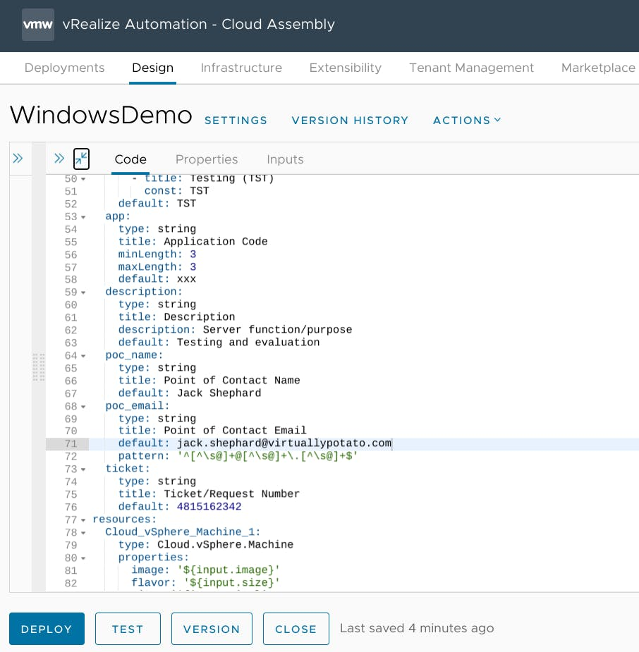 New inputs in Cloud Assembly