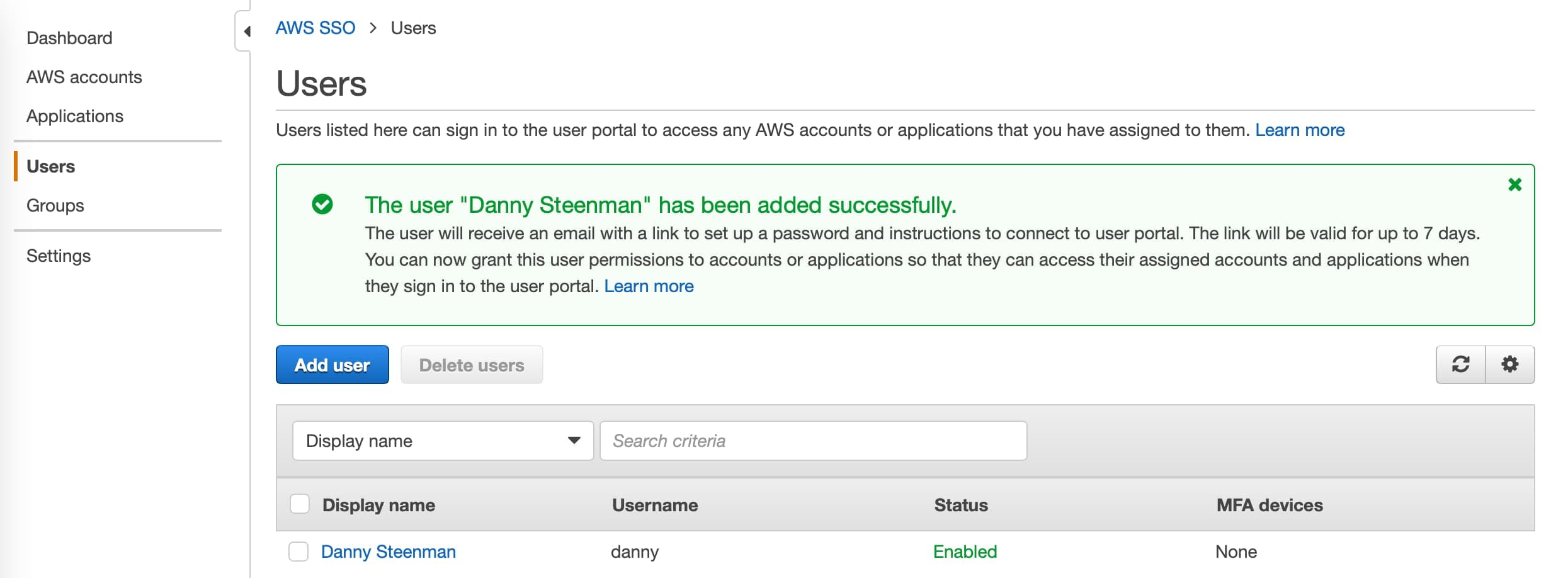 AWS SSO Console user set up page with newly created user