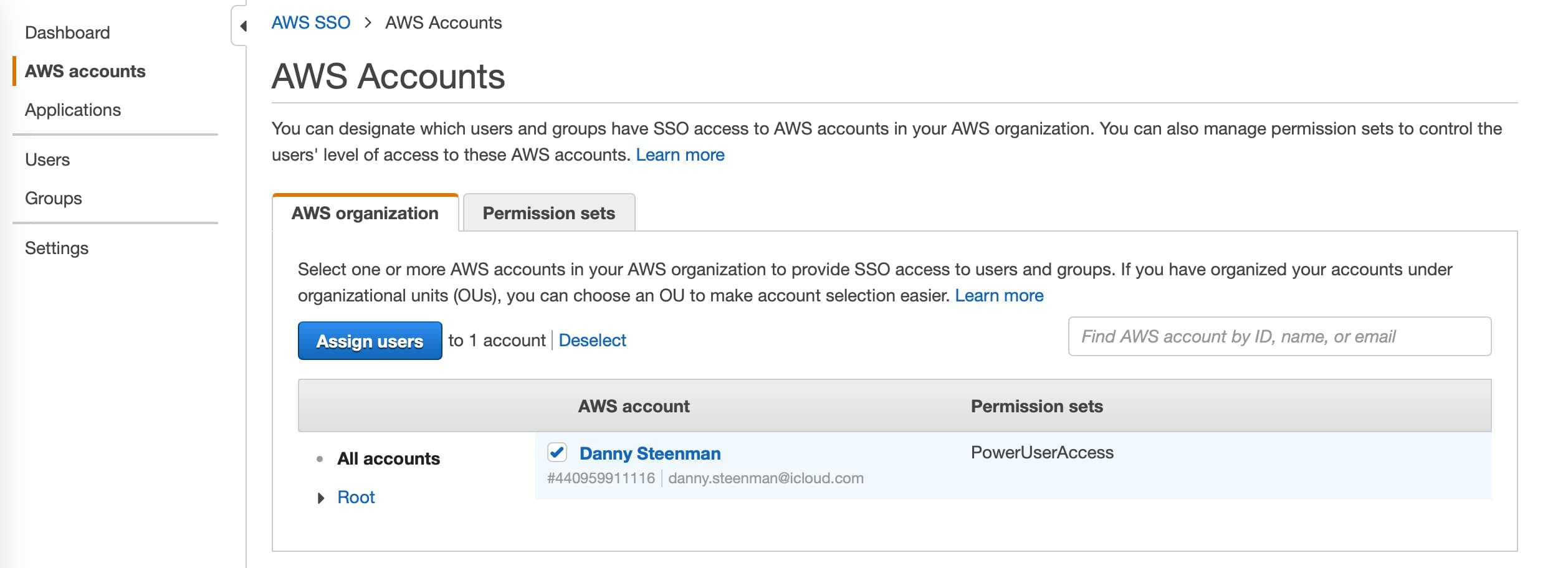 Give AWS SSO user access on your AWS account through permission sets