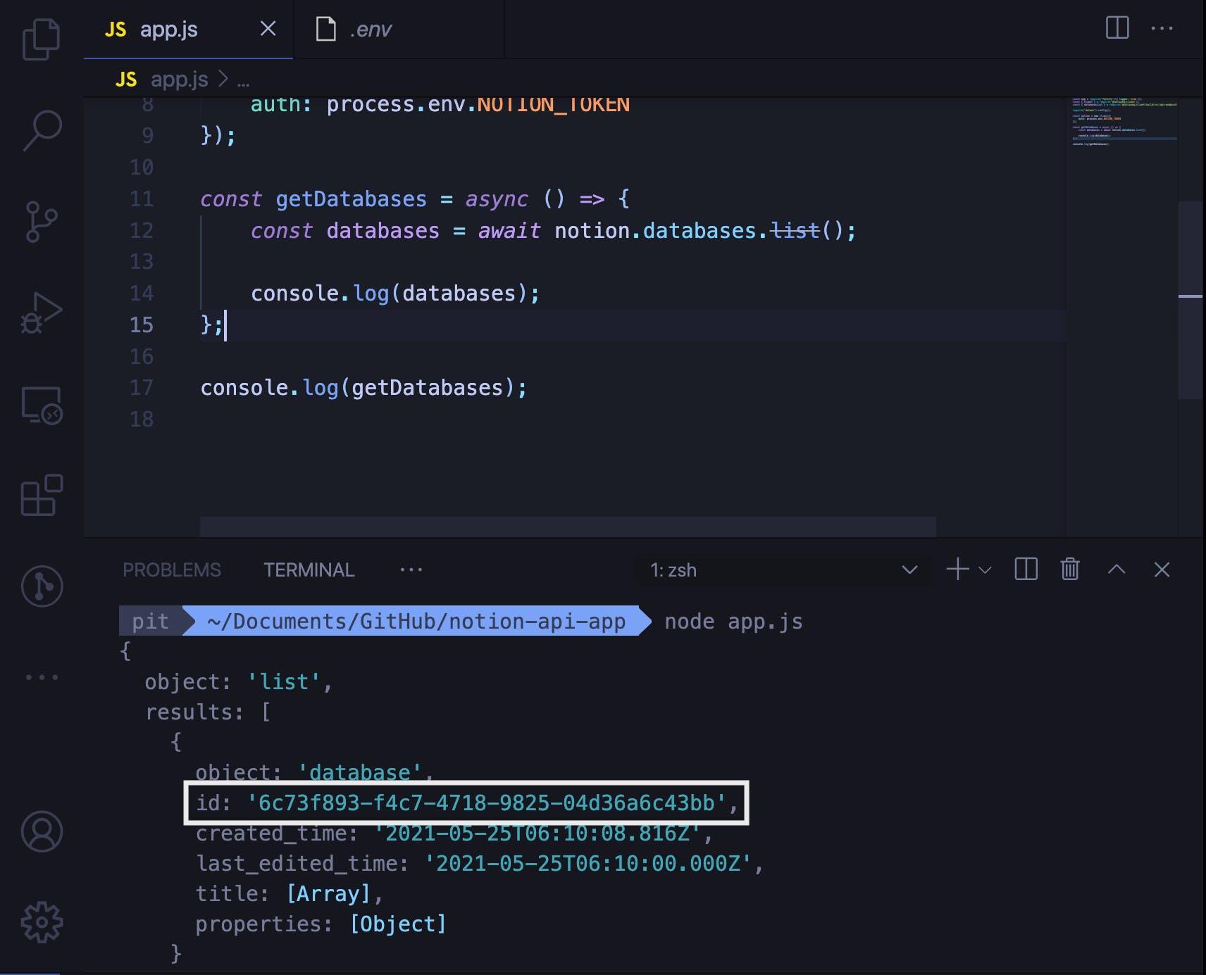 How to retrieve the Notion database ID programmatically
