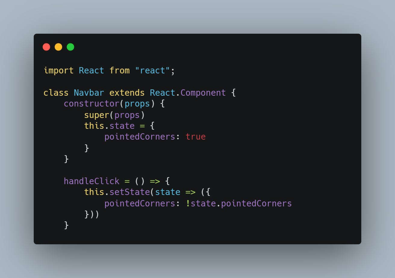 add handleClick method and add pointedCorners: !state.pointedCorners