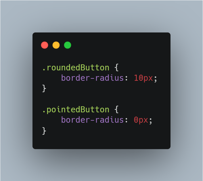 add pointedButton and roundedButton css classes with appropriate border-radius properties