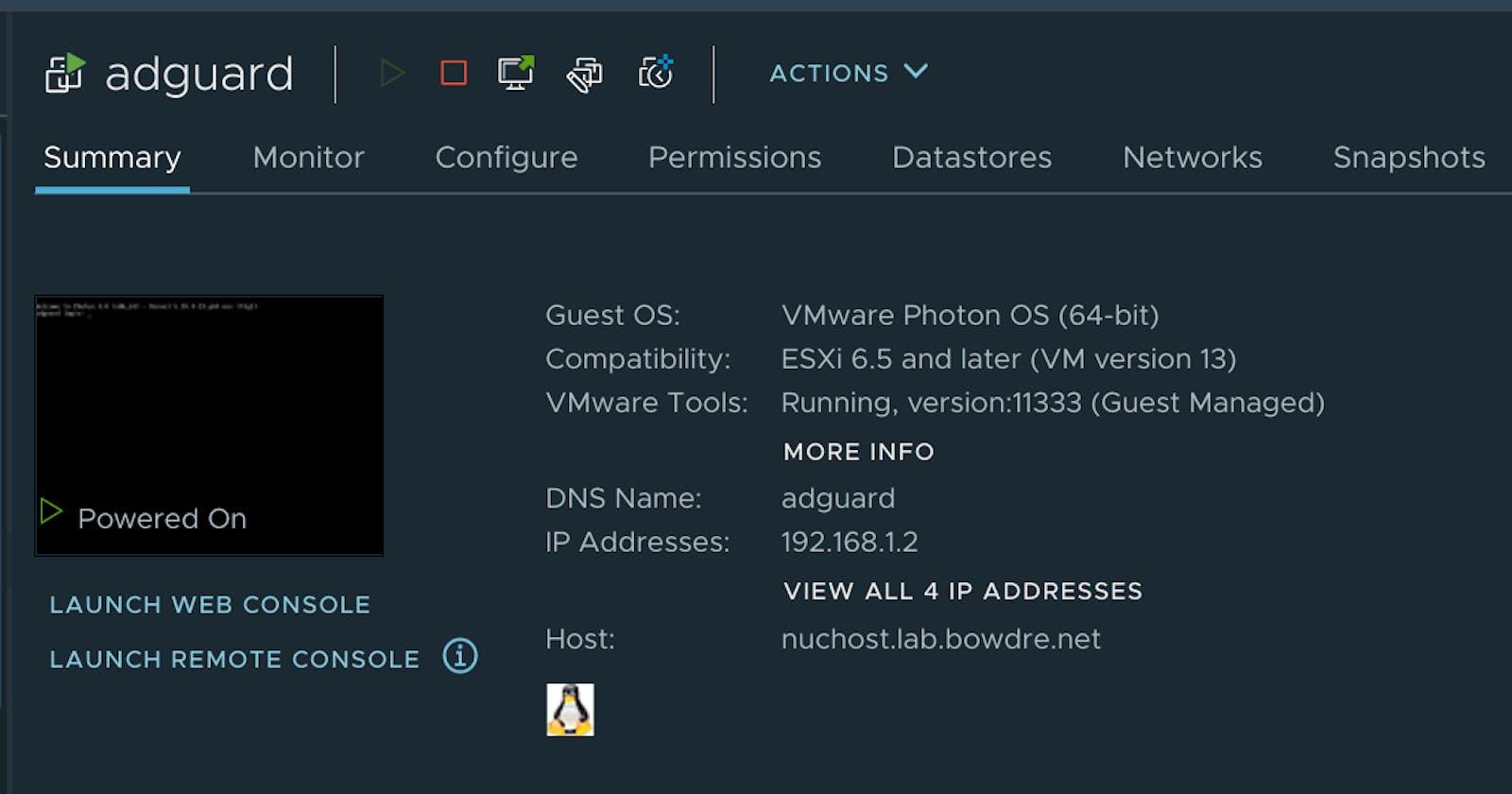 AdGuard Home in Docker on Photon OS