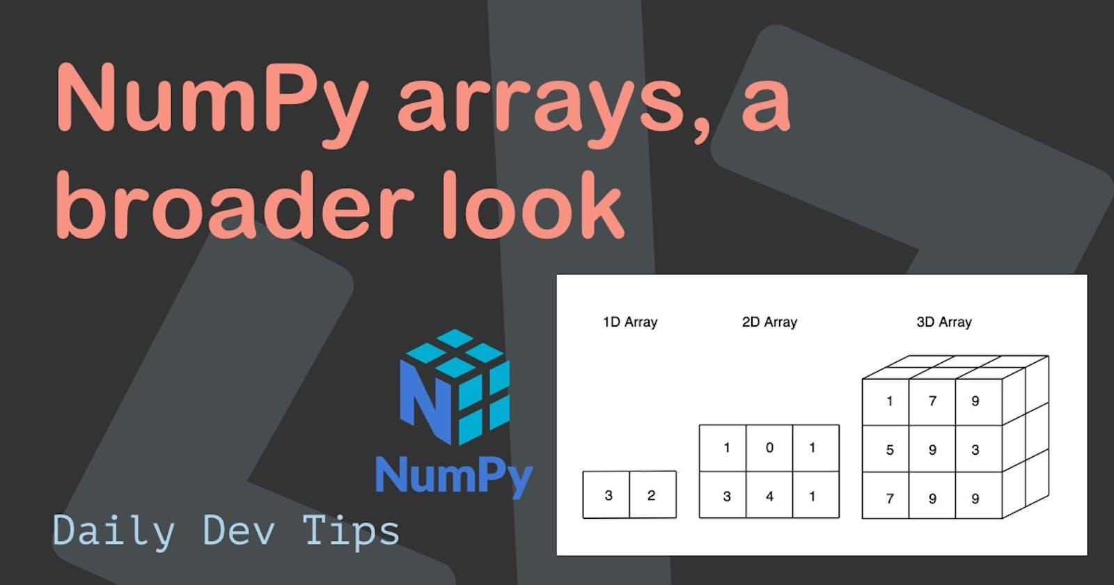 NumPy arrays, a broader look