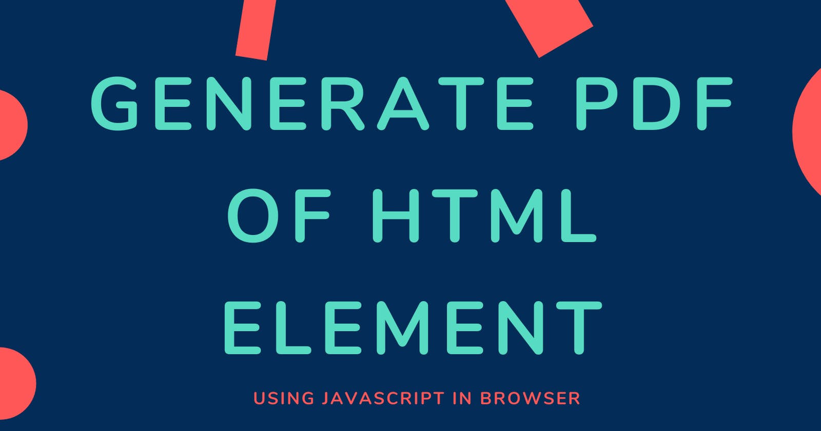 Generate PDF of HTML Element in Browser