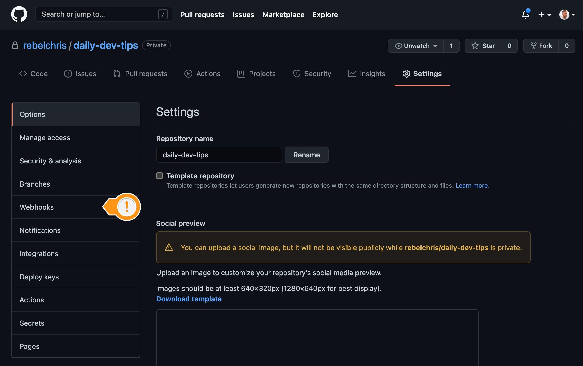GitHub settings webhooks
