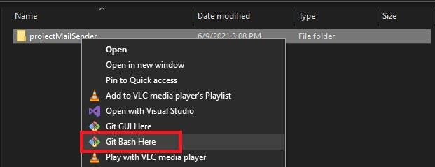Screenshot of the Gitbash option