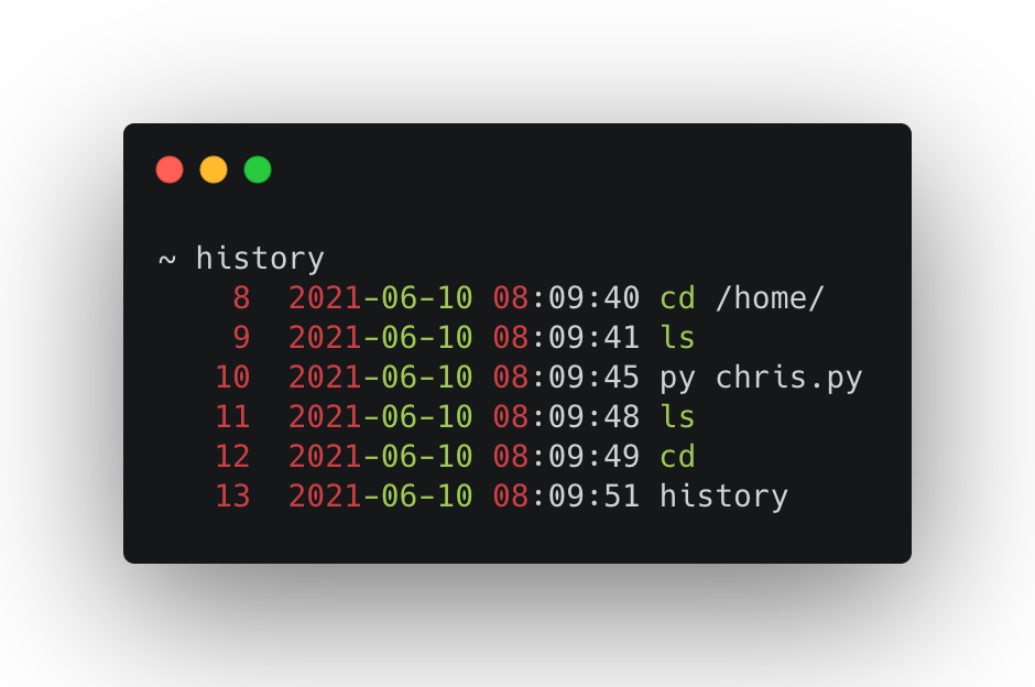 History with timestamps