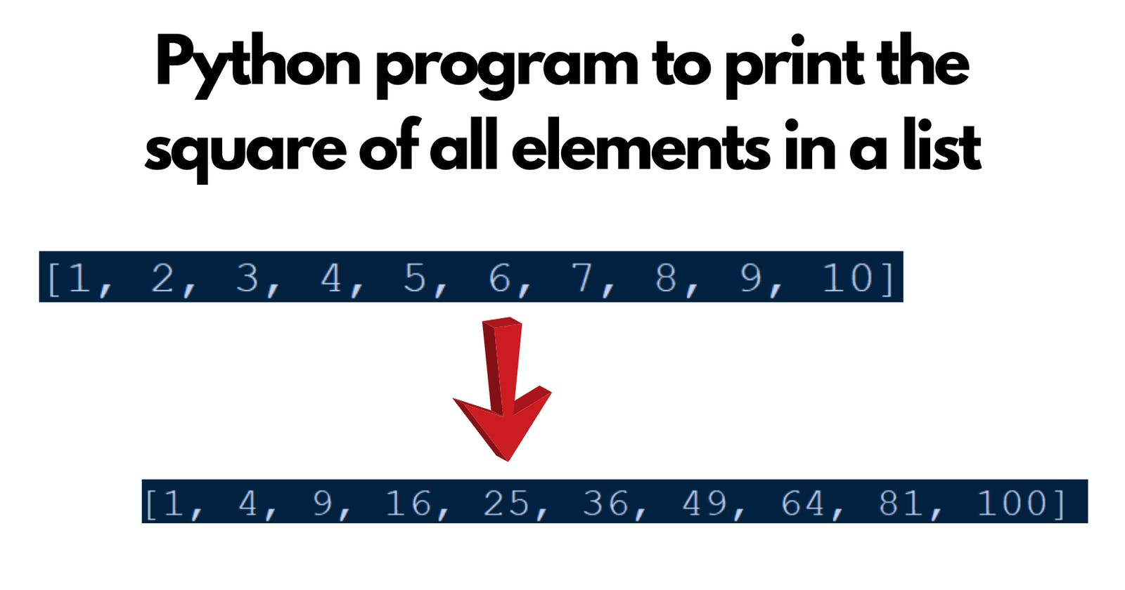 Python program to print the square of all elements in a list