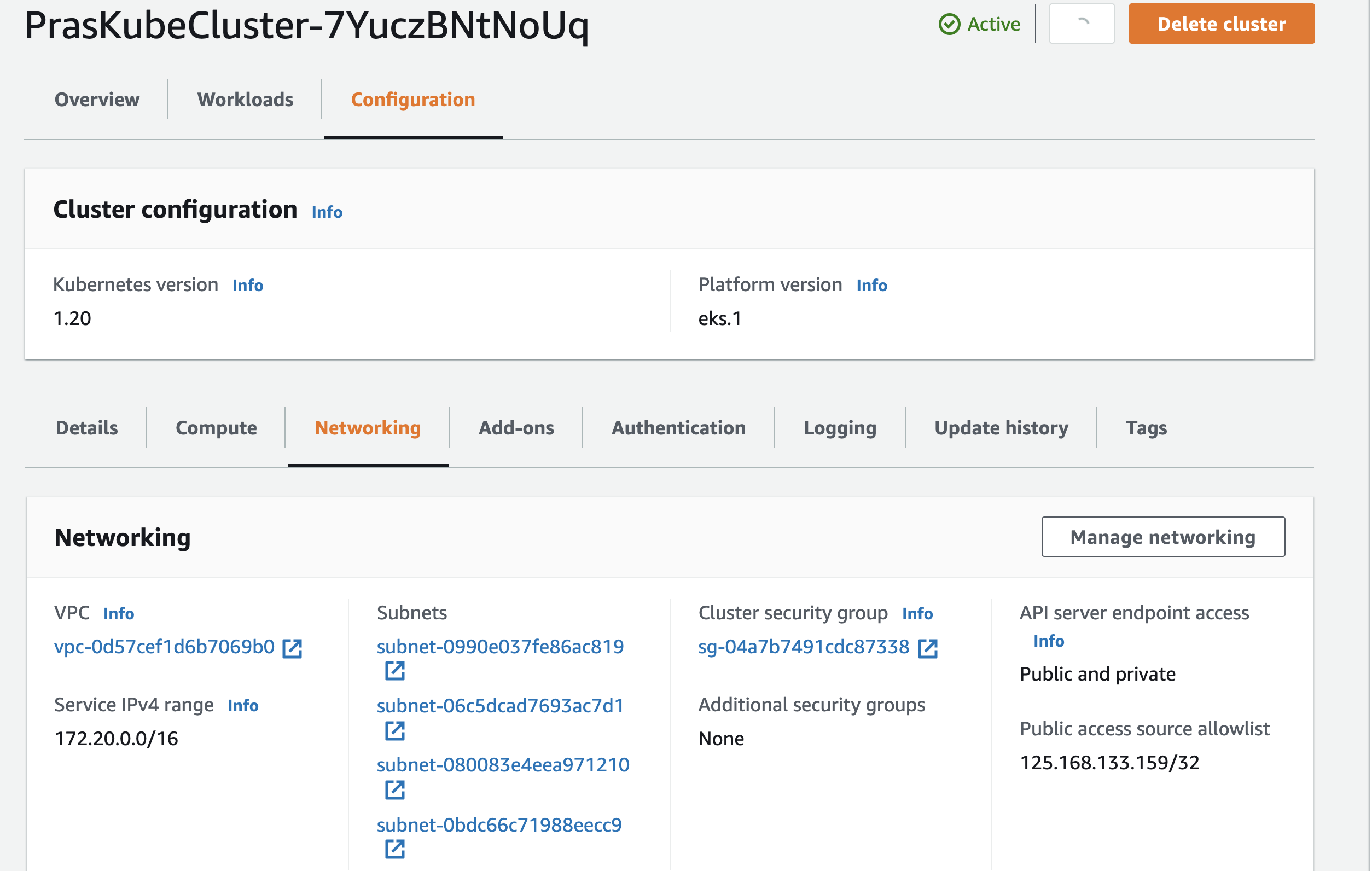 Cluster Networking Config Update