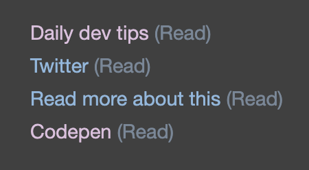 CSS visited read item after