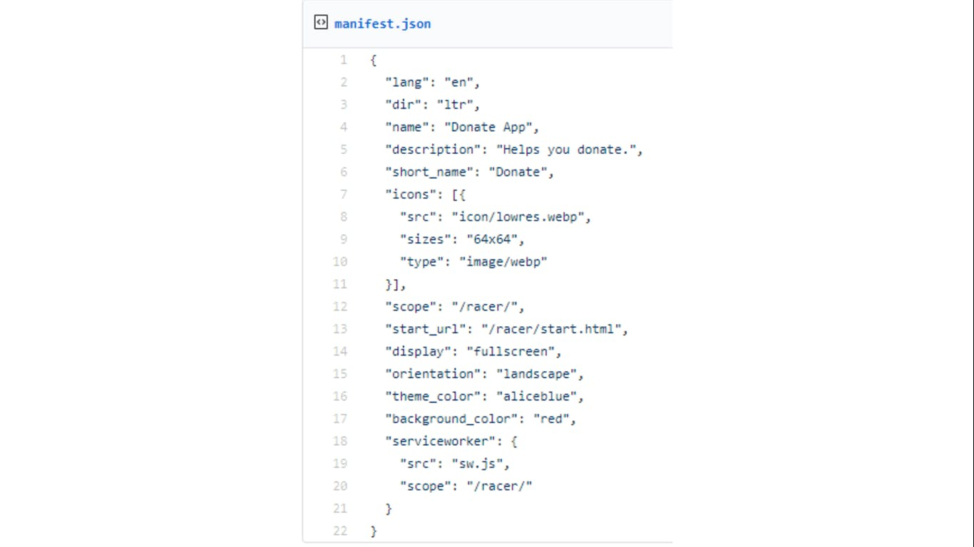 Sample web manifest
