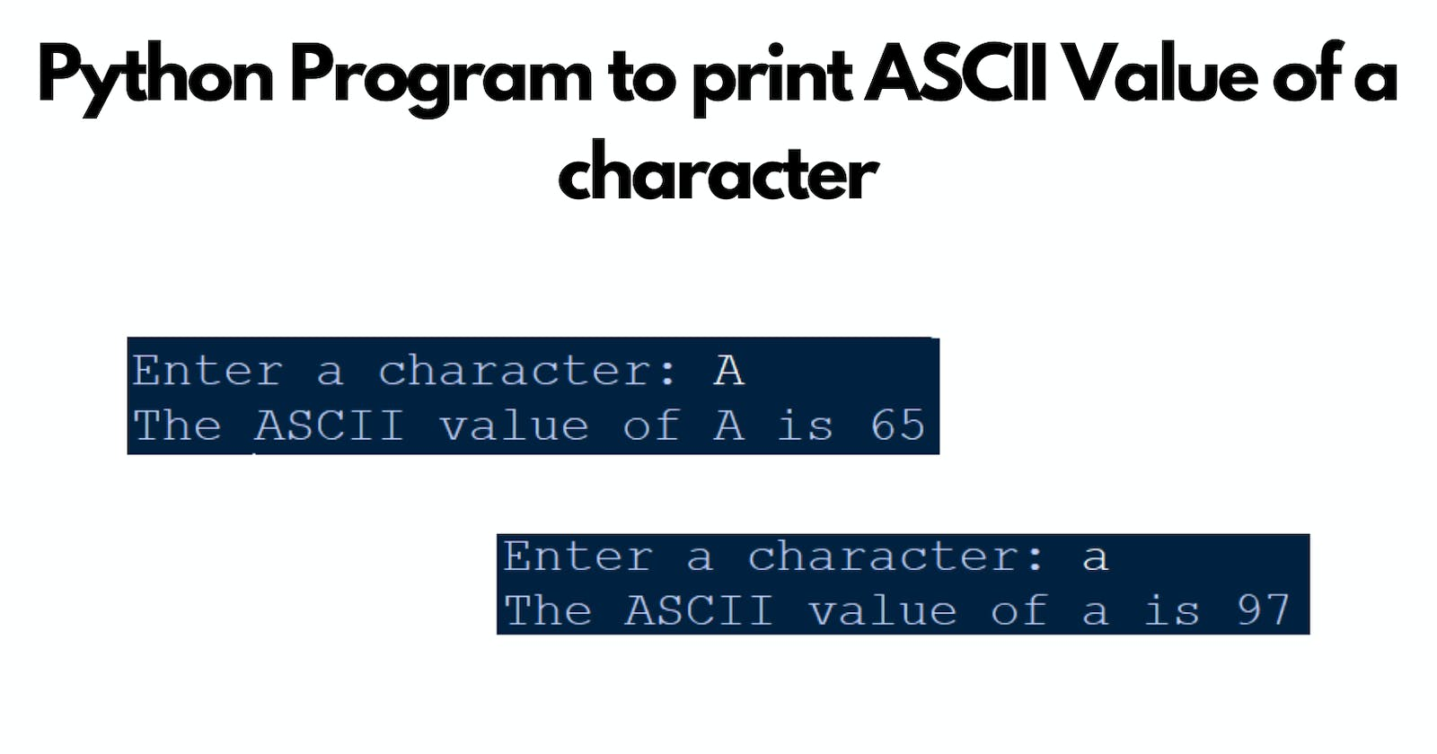 Python Program to print ASCII Value of a character