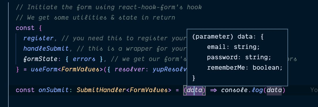 Form data typed - screenshot in vscode