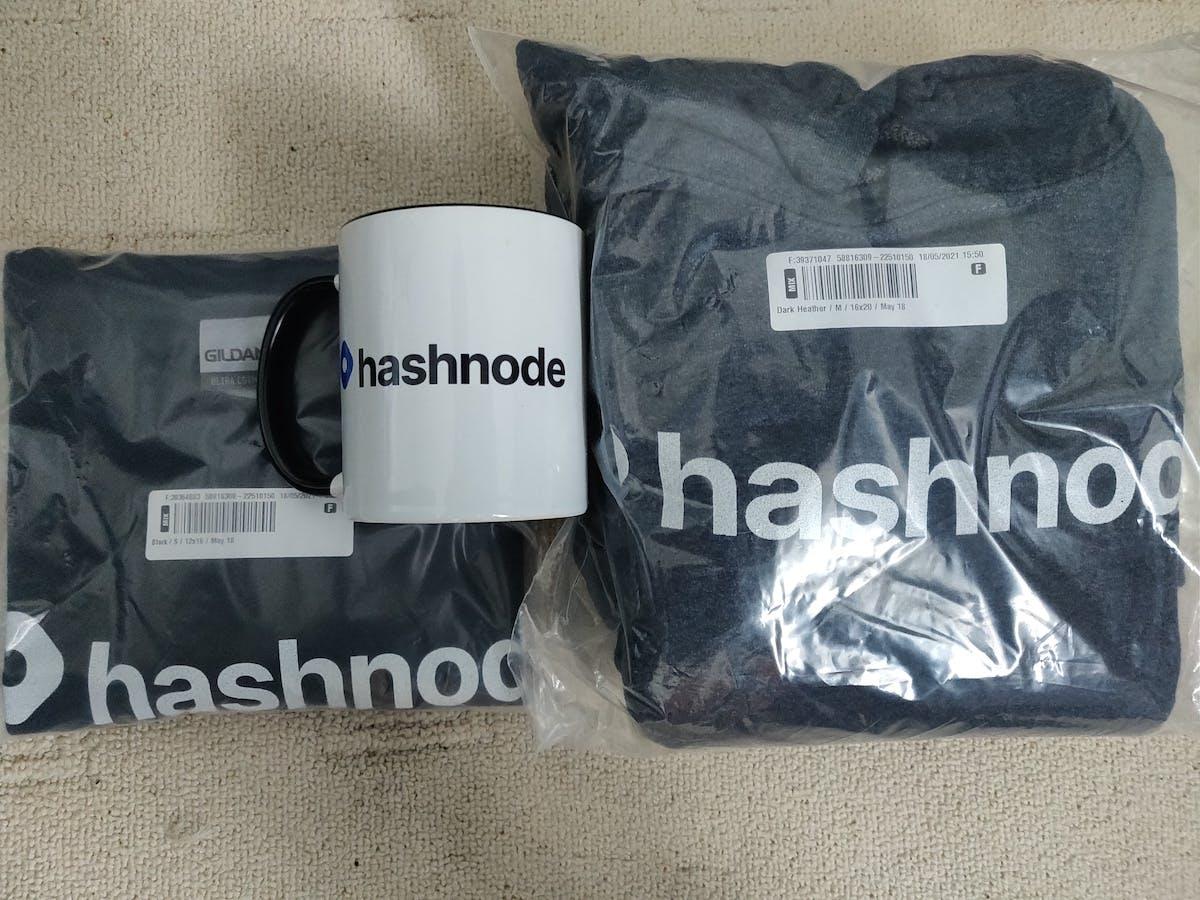 Hashnode hoodie, Hashnode t-shirt and Hashnode mug