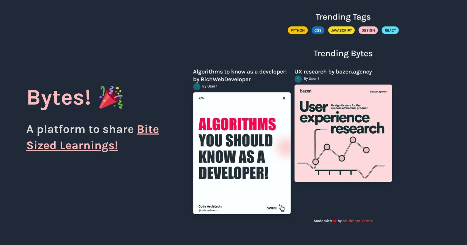 Introducing Bytes 🎉 - A platform to share bite-sized learnings!