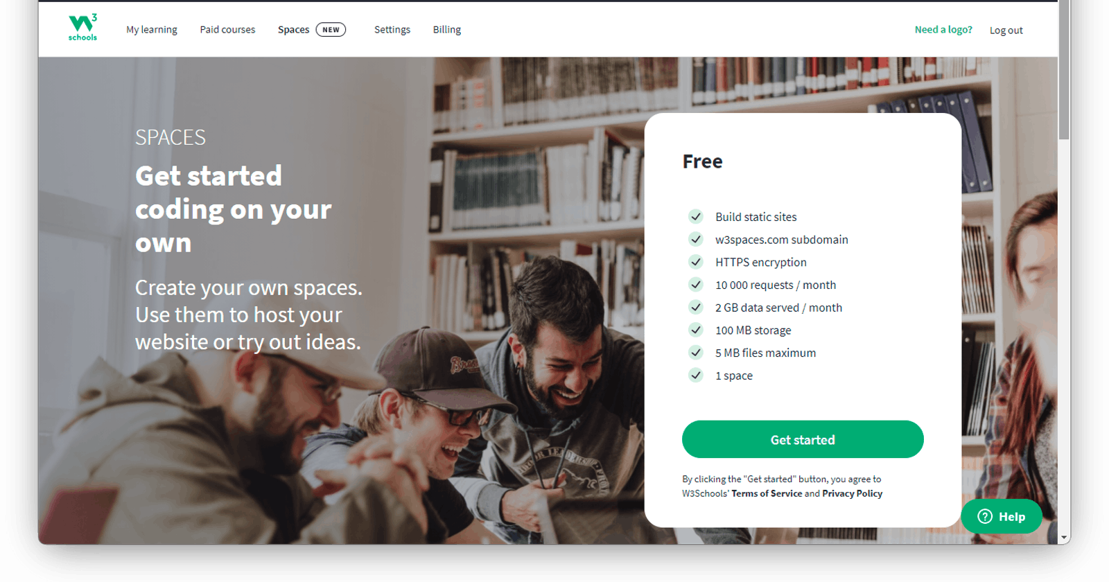 Hosting your Site on W3School Spaces