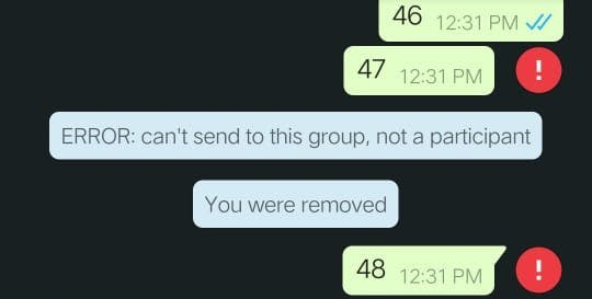 removed from group