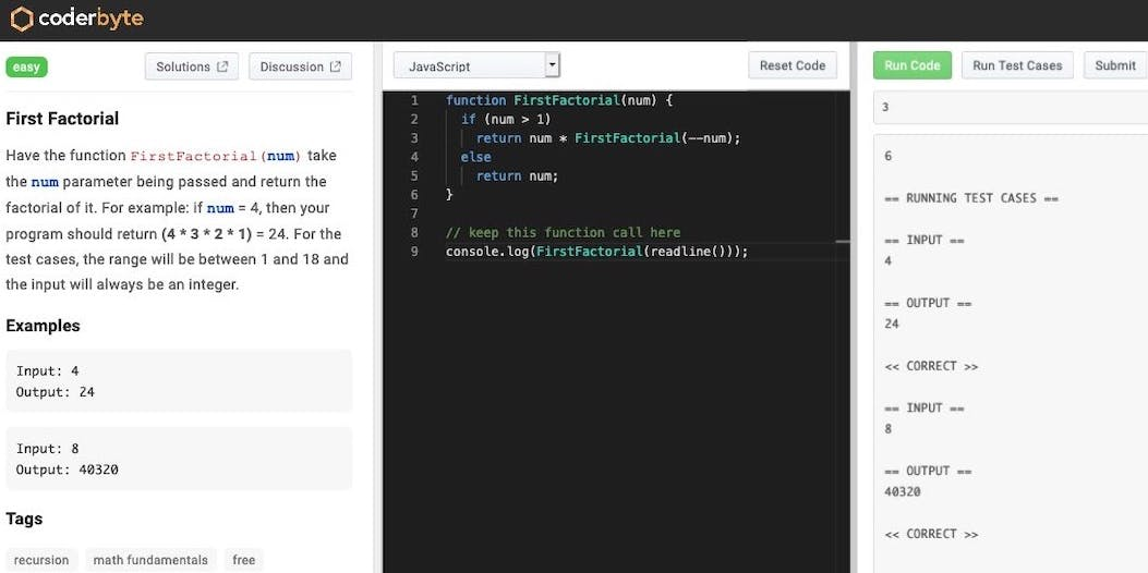 JavaScript code, calculating the first factorial of an integer with recursion.