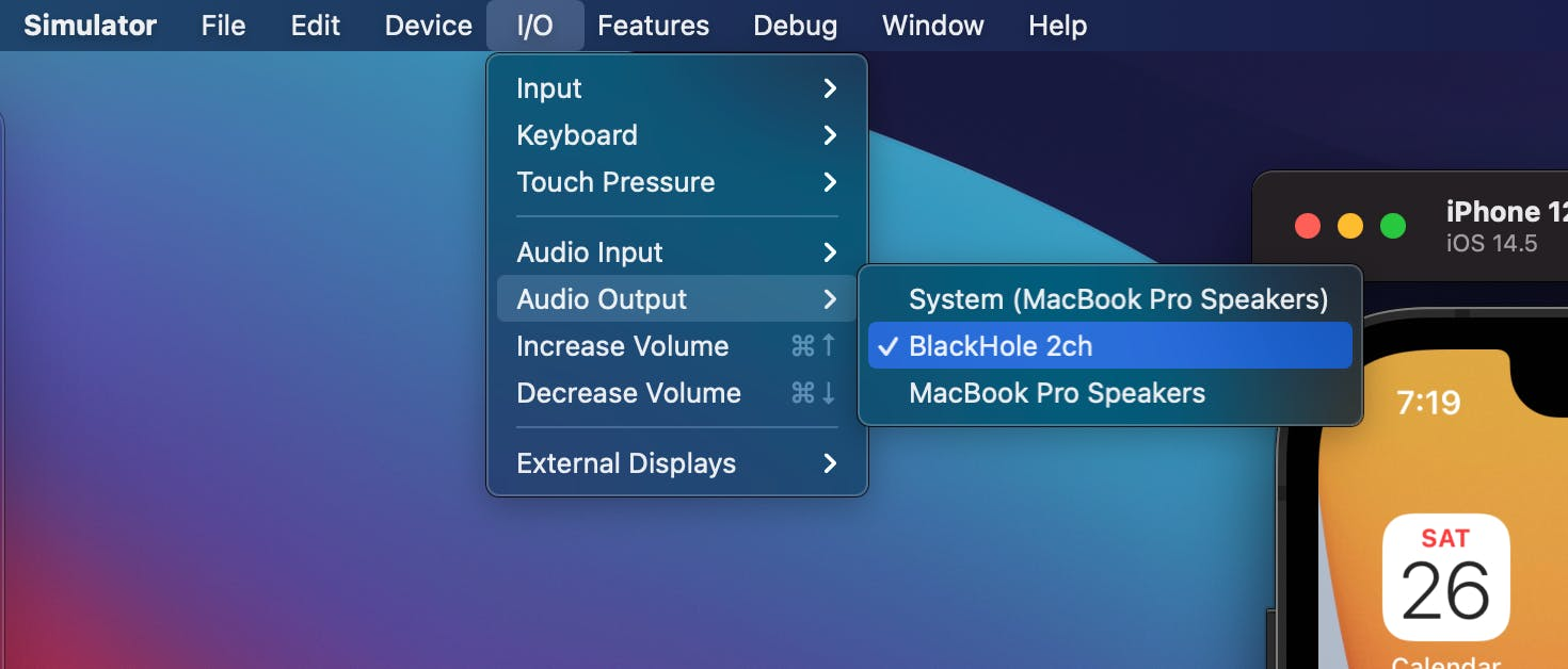 visual instruction of selecting BlackHole 2ch as audio driver.