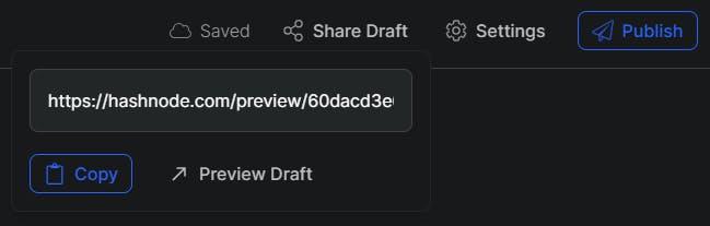 Hashnode share draft feature