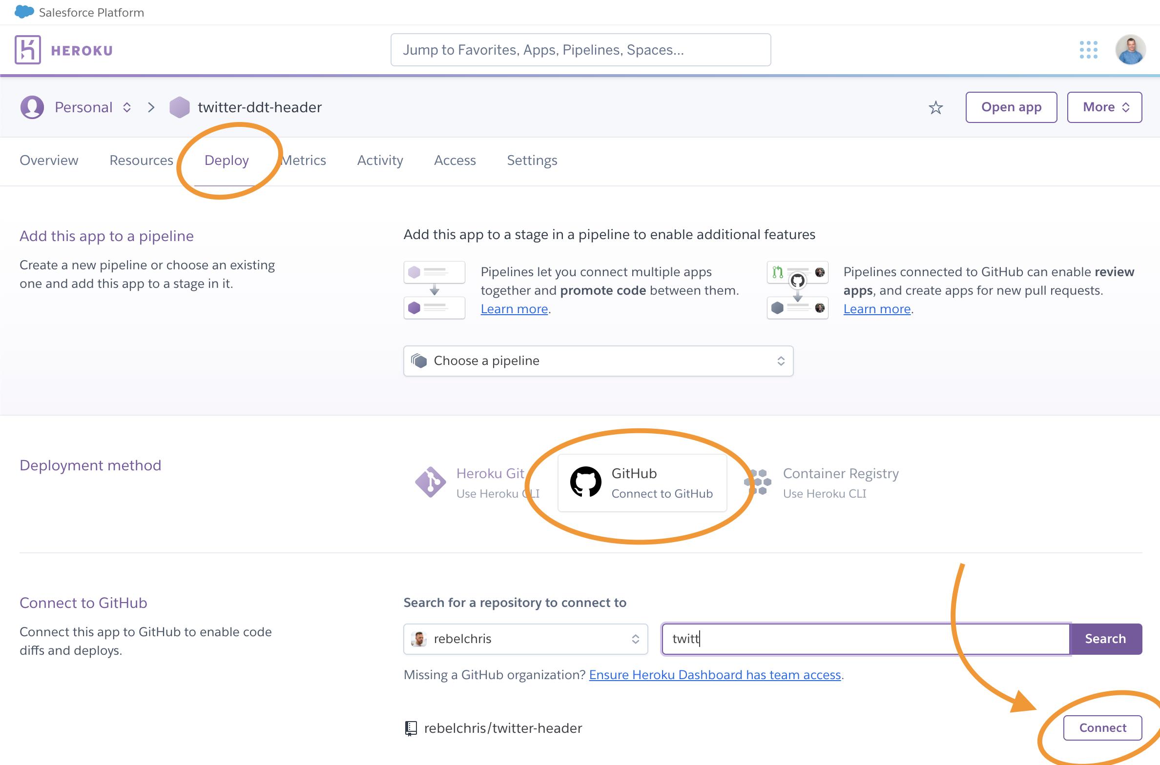 Heroku connecting to GitHub