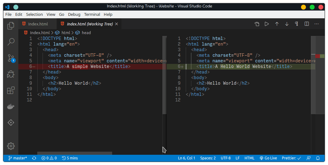 VS Code, a text editor, has a feature that shows you the changes you've made.