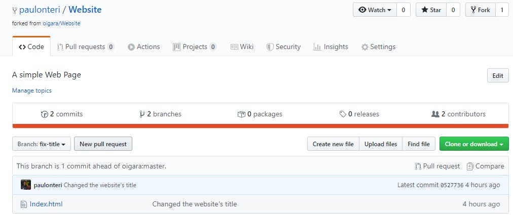 Click on the **New pull request** button.