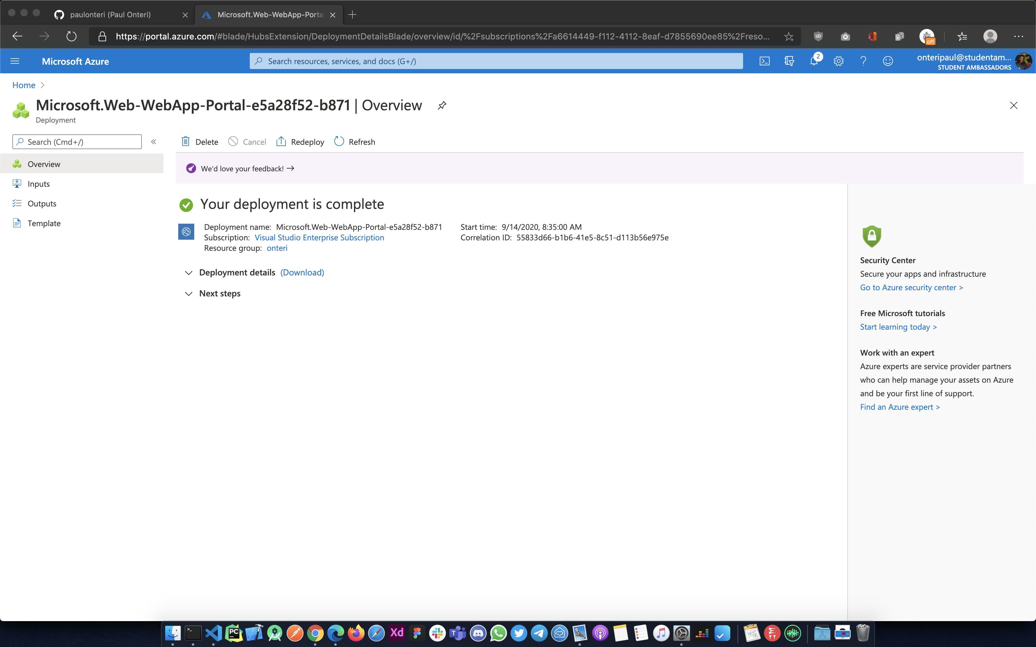 Azure App Service created