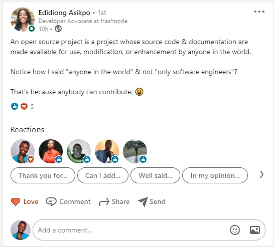edidiong asikpo definition of open source on linkedin