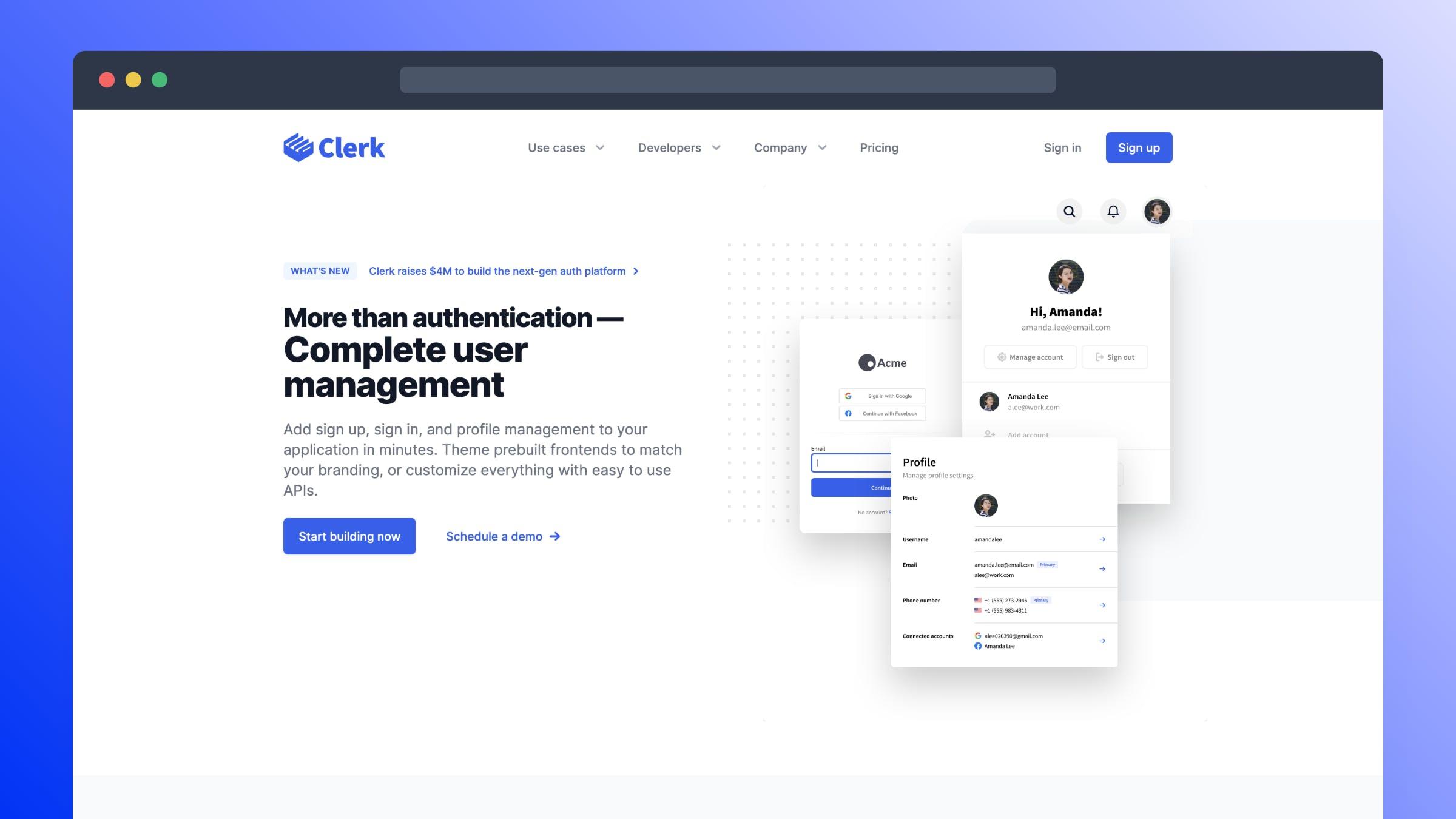 Clerk.dev Site