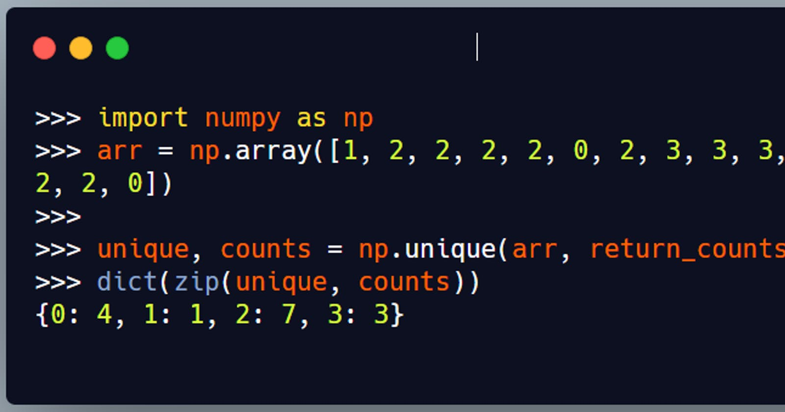 Count an element in numpy array