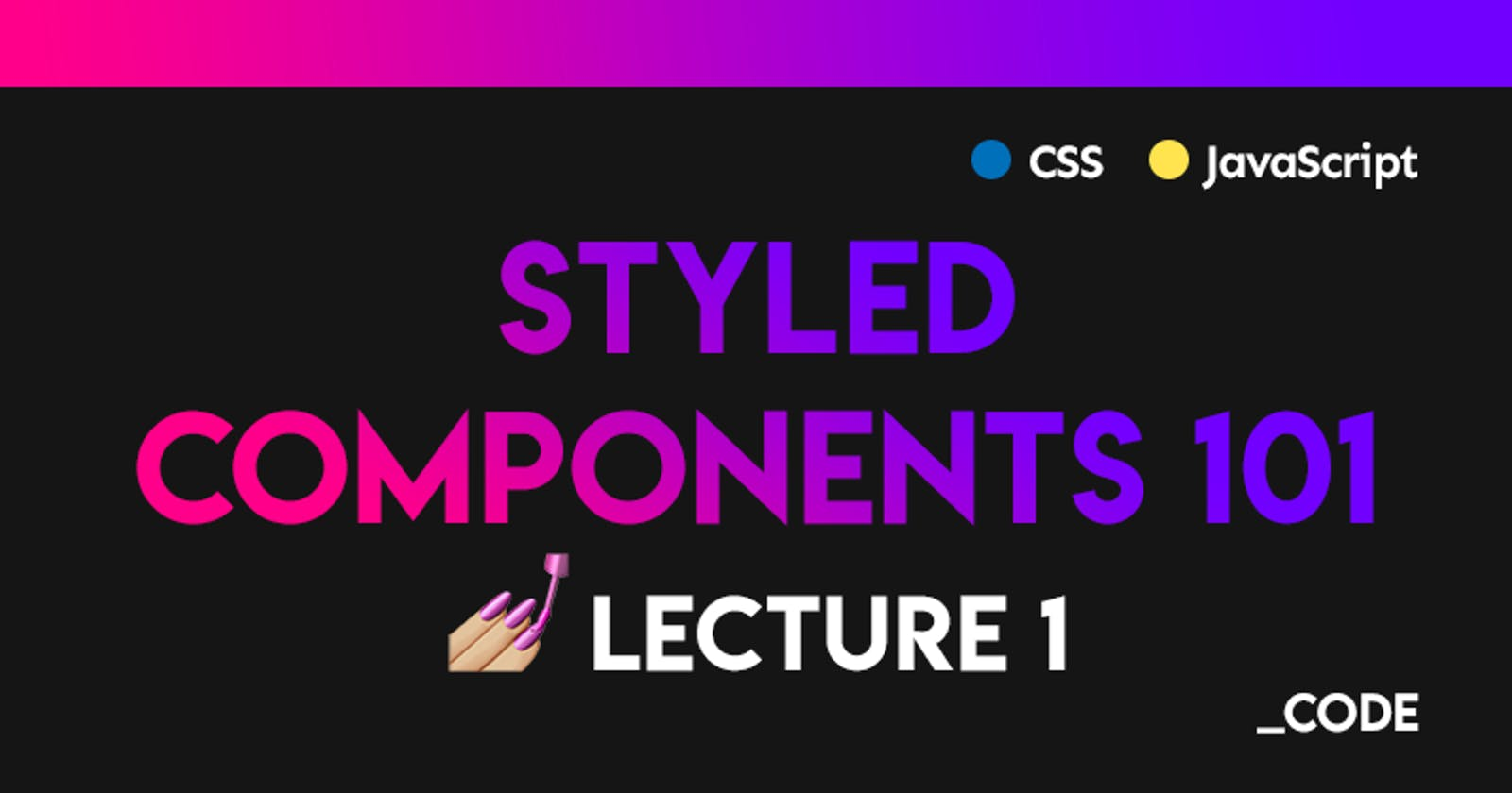 Styled Components 101 💅 Lecture 1: Introduction + Setup in a React Environment ⚛️