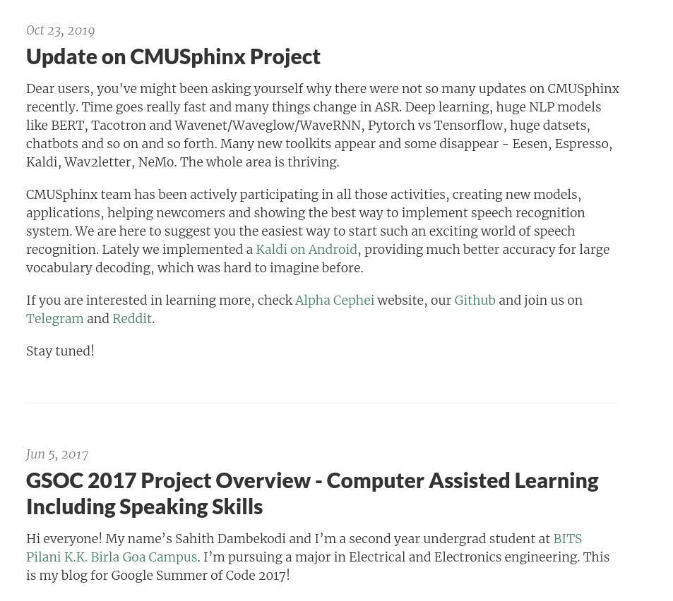 CMUSphinx blog