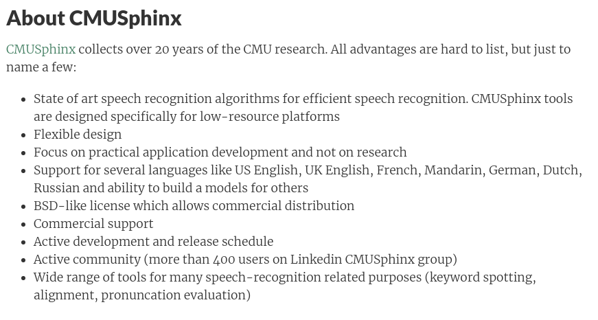 CMUSphinx Wiki About Section