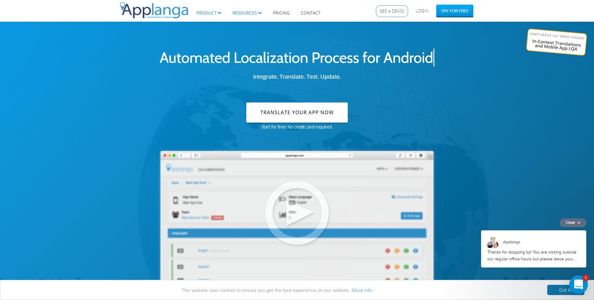AppLanga Homepage