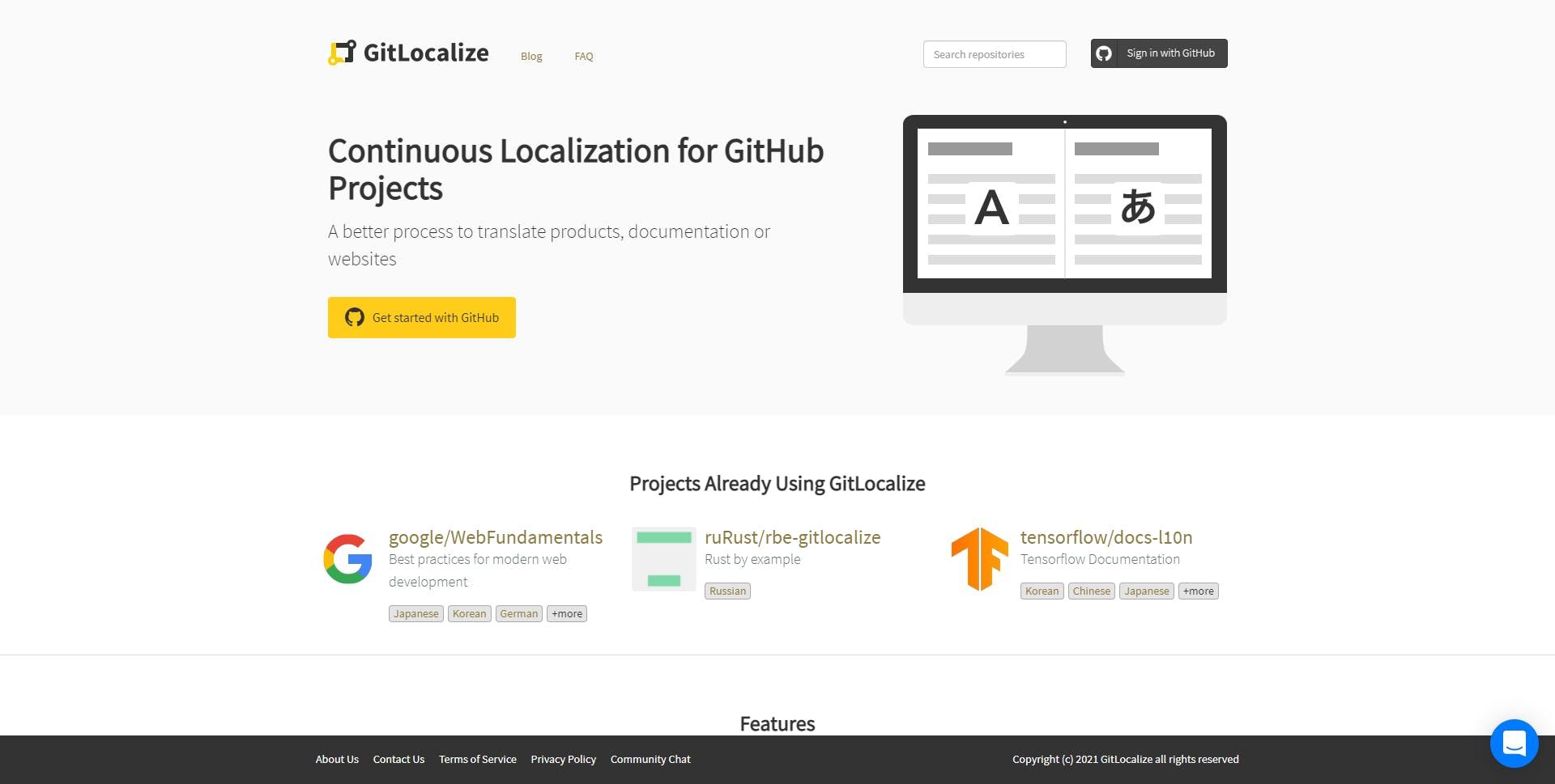 GitLocalize.com Homepage