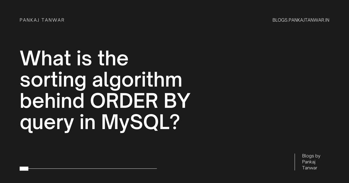 Since the last couple of weeks, I have been working on MySQL more closely. MySQL is a brilliant piece of software. I remember reading about all the so