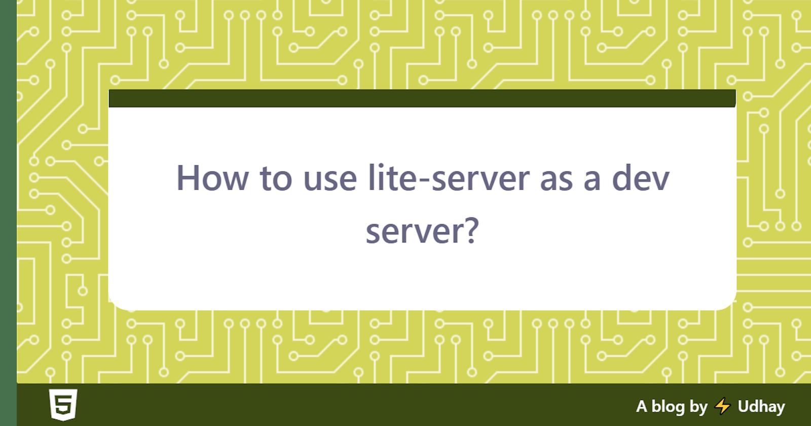 How to use lite-server as a dev server?