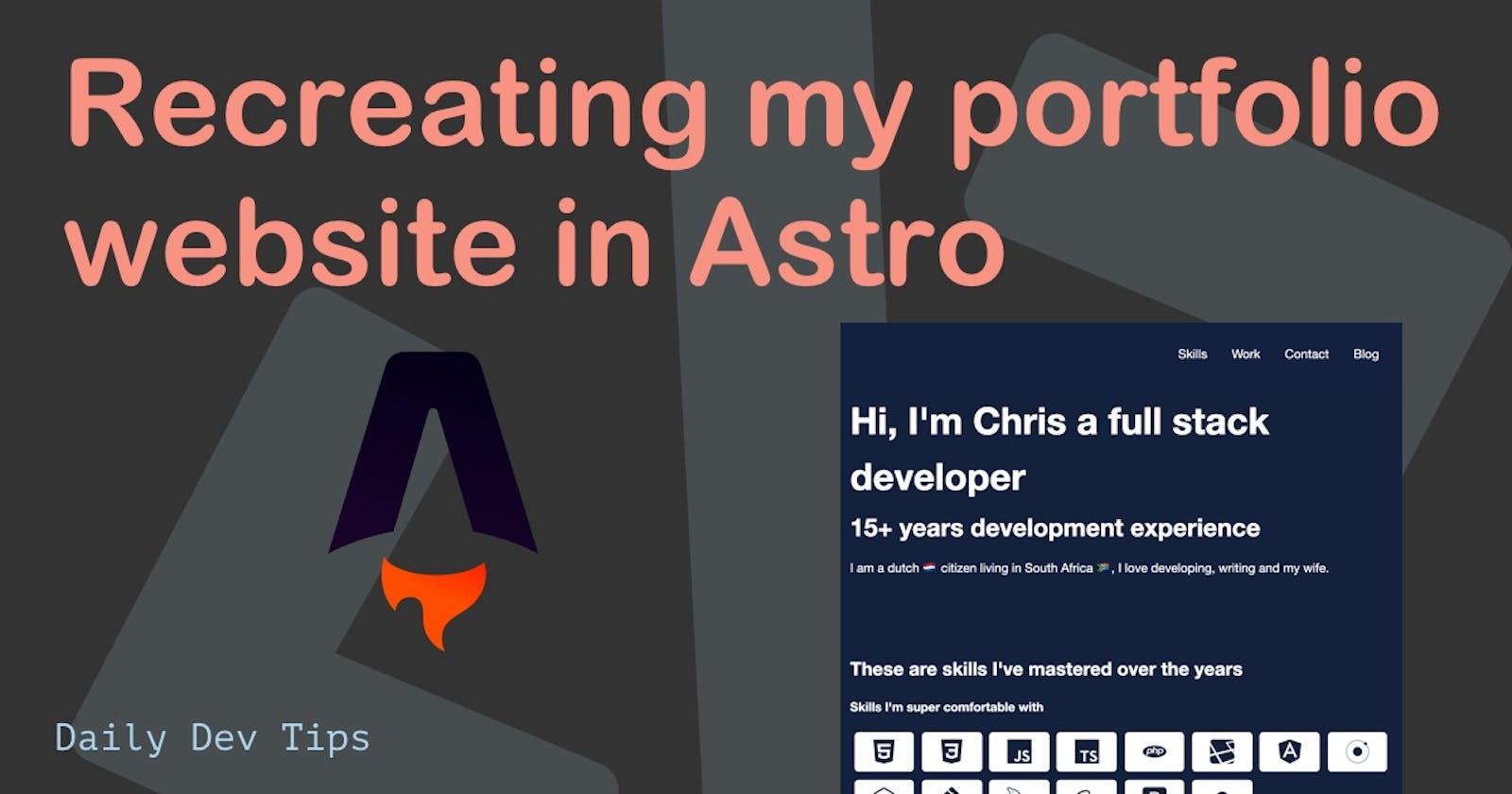 Recreating my portfolio website in Astro