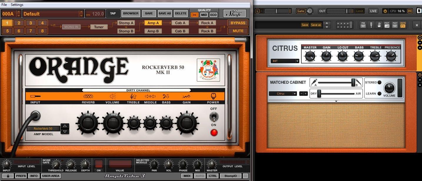 Solda Amplitube 3 sağda Guitar Rig 4
