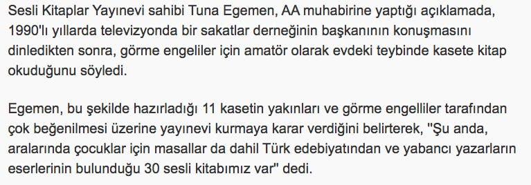 Kasım 2008 Anadolu Ajansı Tuna Egemen Haberi