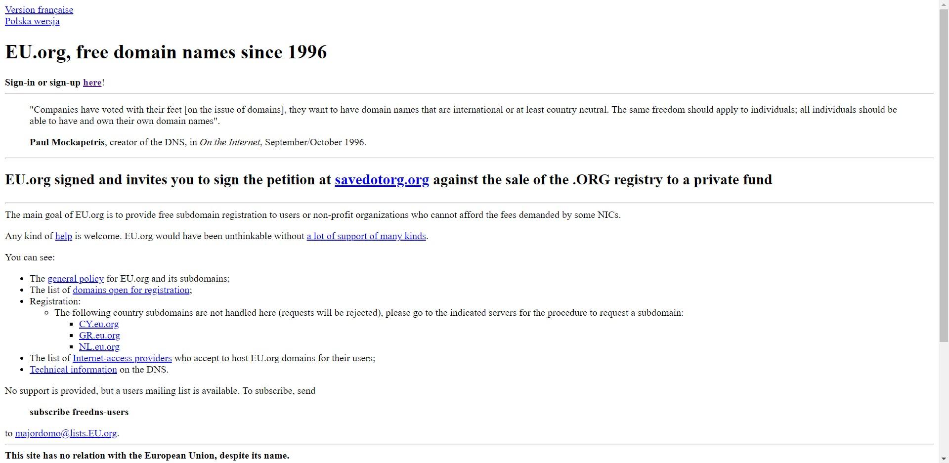 First site of eu.org domain register